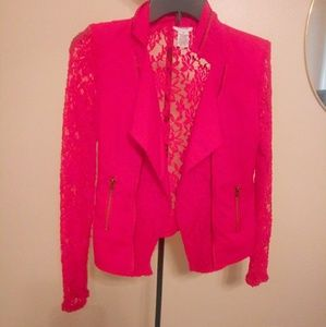 Casual See Through Red Blazer Jacket